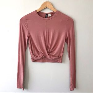 Divided H&M Pink Long Sleeve Cropped Top